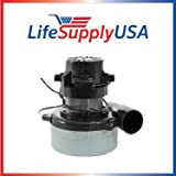 """LifeSupplyUSA Central Vacuum Boat Lift 2 Stage Motor 120V, 1200 Watt High Suction Tangential Bypass Discharge Blower Horn 5.7"""" inch with Wires"""