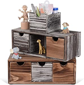 Rustic Desk Office Organizer with 6 Drawers Wooden Stackable Storage Stash Box Caddy for Office, Bedroom, Kitchen
