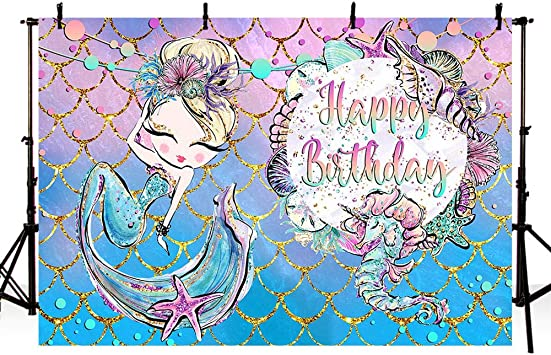 MEHOFOTO Purple Teal Photo Background Glitter Gold Mermaid Themed Colorful Shell Girl Princess Happy Birthday Banner Party Decoration Backdrops for Photography 7x5ft