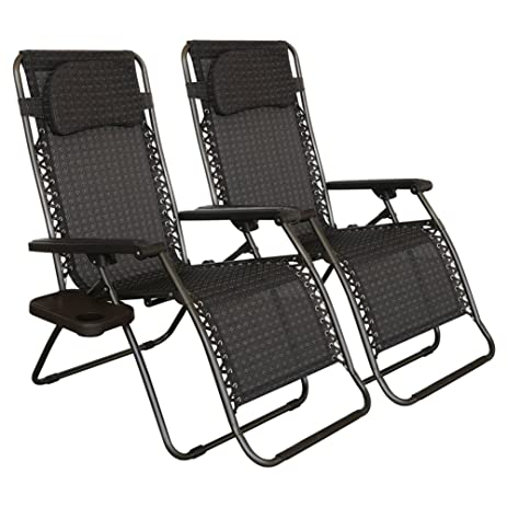 Abba Patio Zero Gravity Lounge Chair 2 Pack Oversized Outdoor Patio Chair  Adjustable Folding Recliner