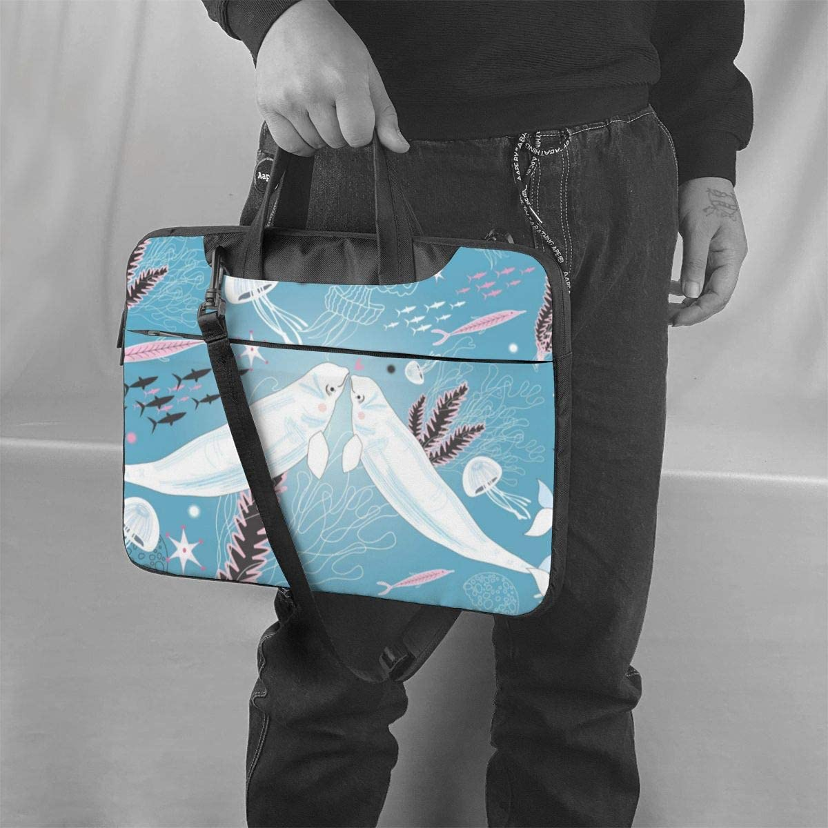 NEPower Laptop Tote Bag Watercolor Whale Protective Laptop Carrying Sleeve with Strap Fits 13-15.6in Laptop for Office