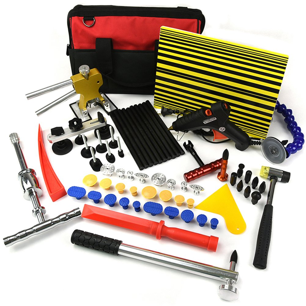 Wcaro 58pcs Automotive Auto Paintless Dent Repair Tools Kit Glue Dent Puller Kit Dent Removel Kit Slide Hammer PDR Hail Repair Tool Car Dent Puller Tool with Glue Puller Tabs,Tap Down,Line Board