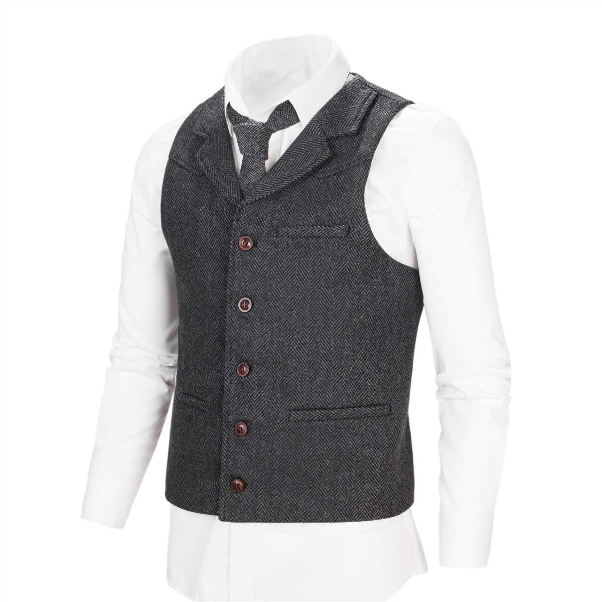 BOTVELA Mens Wool Blend Collared Slim Fit Suit Vest Notched Lapel Waistcoat Herringbone Solid