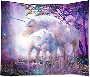 """YISUMEI Tapestry Home Decorations Art Wall Hanging Hippie Tapestries 60""""x 80"""" Fantasy Forest Unicorn Purple"""