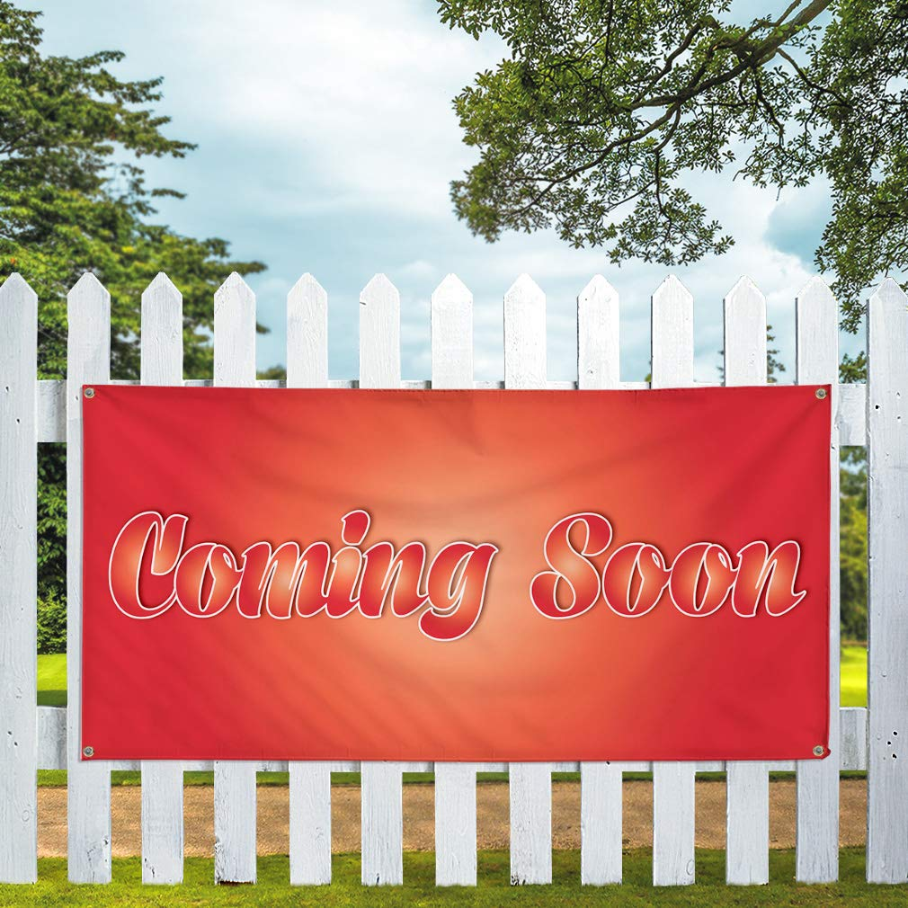 4 Grommets Multiple Sizes Available 28inx70in Vinyl Banner Sign Coming Soon #1 Style E Business Coming Soon Marketing Advertising Red Set of 2