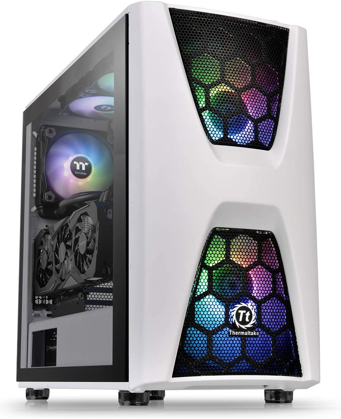 Thermaltake Commander C36 Motherboard Sync ARGB ATX Mid Tower Computer Chassis with 2 200mm ARGB 5V Motherboard Sync RGB Front Fans 1 120mm Rear Black Fan Pre-Installed CA-1N7-00M1WN-00