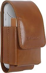 StilGut - Cover per set sigarette elettroniche iQOS in pelle 2 in 1, Cognac