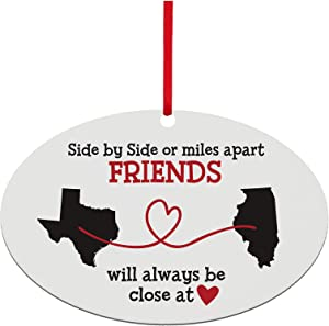 Let's Make Memories - Personalized Christmas Ornament for Distant Friends and Family - Custom Ornament for Those Miles Apart, Close at Heart - Any Two States - 6