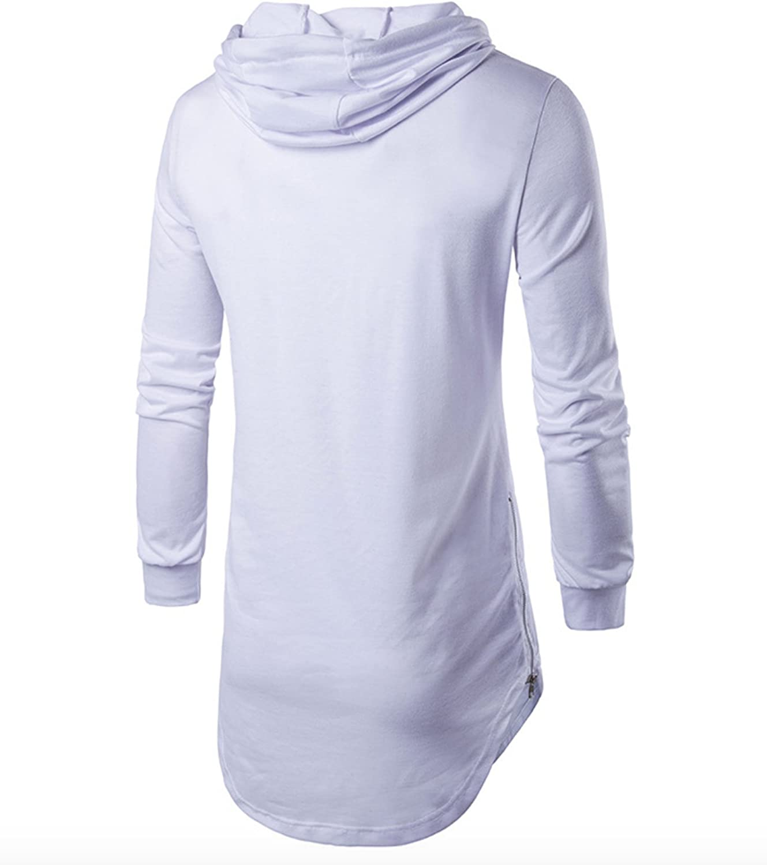 WSLCN Mens Hipster Long T Shirt Hooded Hip Hop Long Sleeve