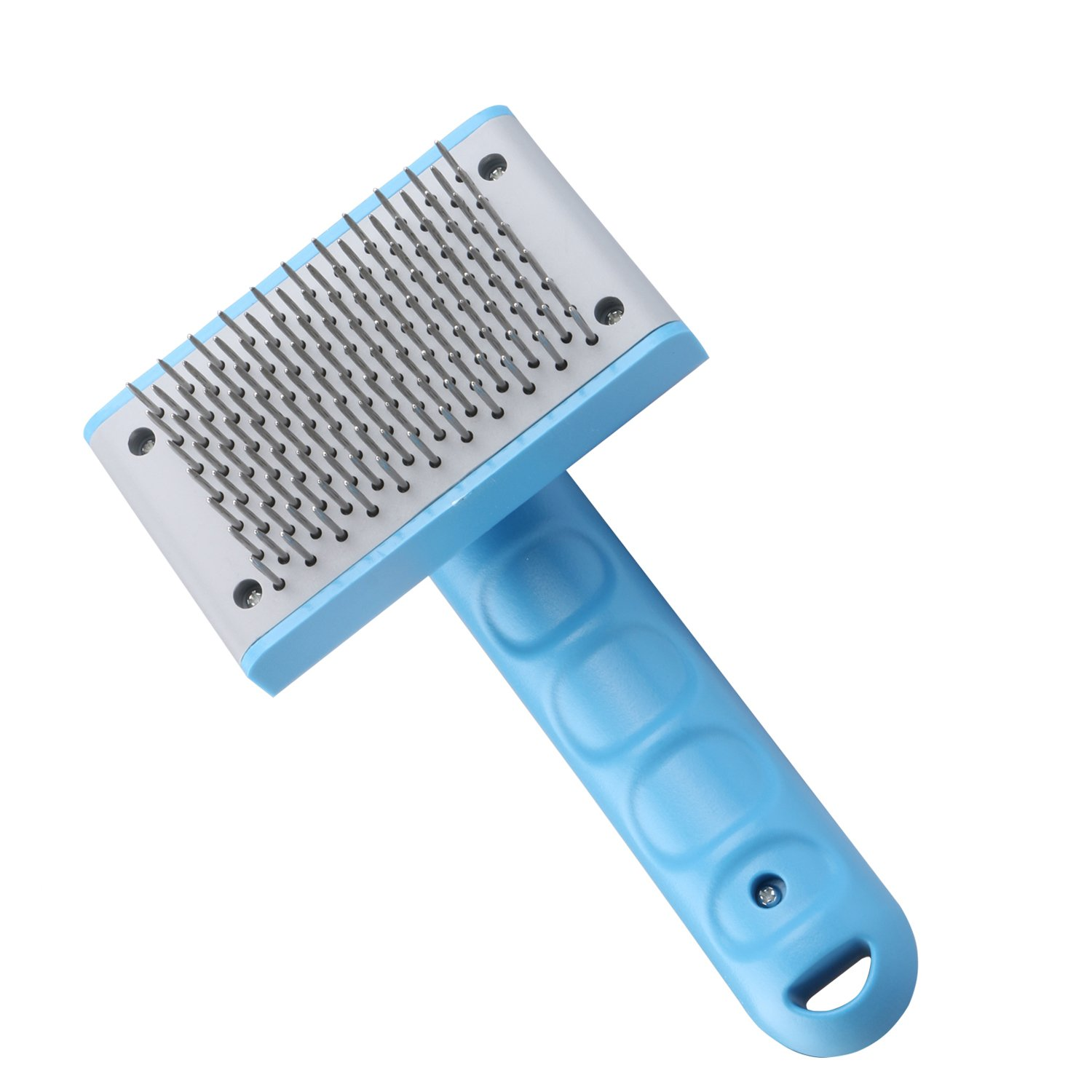 Pet Slicker Brush Grooming Deshedding Tools with Retractable Stainless Steel Bristle Slicking Comb Easily to Collect and Remove Pet Hairs