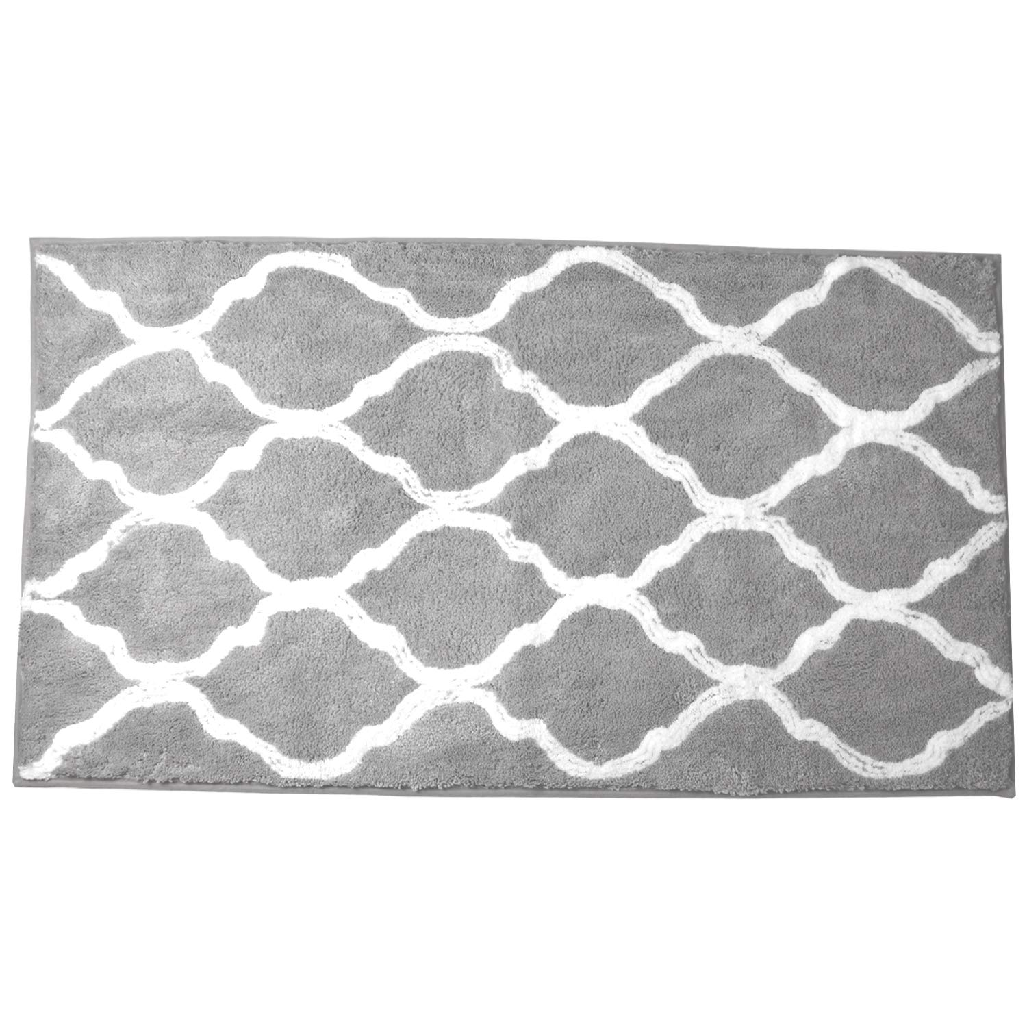 Pauwer Microfiber Bath Rugs for Bathroom Runner Mat Long Non Slip Bath Rug Runner Machine Washable Absorbent Bath Mat for Bathroom Floor Shower (47''×27.5'', Grey) by Pauwer
