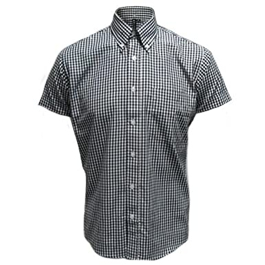 Relco Men's Black Gingham Short Sleeve Classic Mod Button Down ...