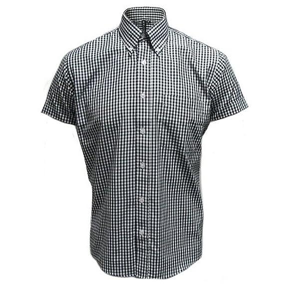 Relco Men's Black Gingham Short Sleeve Classic Mod Shirt Size S