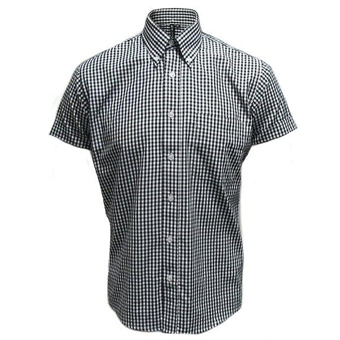 bd68a7da189 Relco Mens Short Sleeve Gingham Mod Shirt  Amazon.co.uk  Clothing