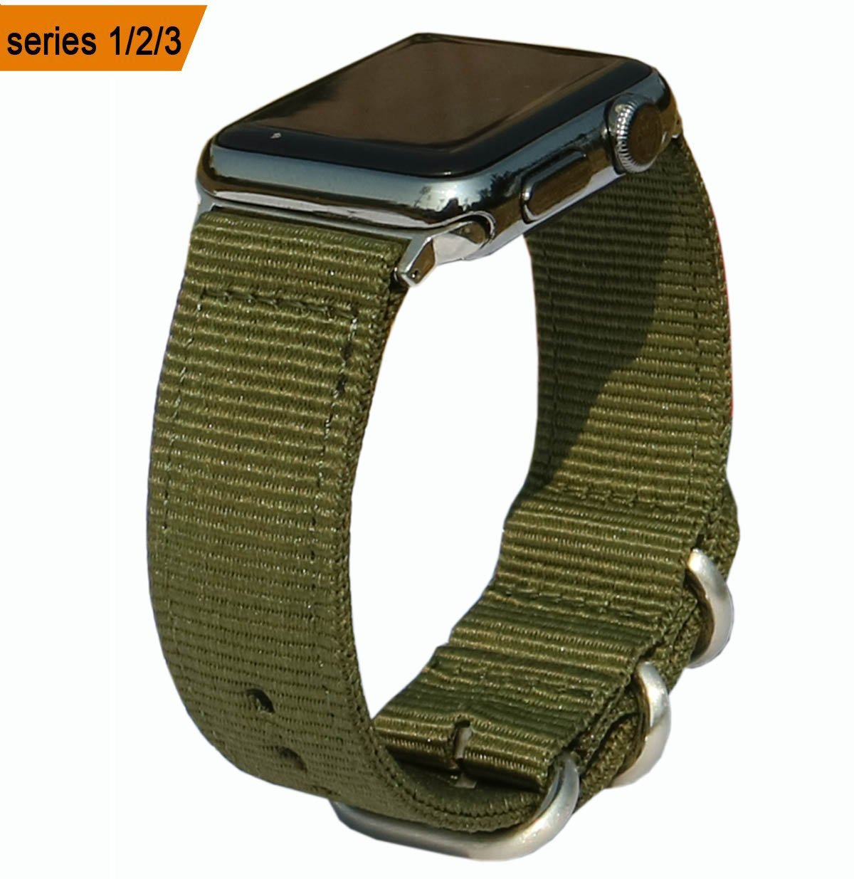 Olytop Compatible Apple Watch Band 38mm, Premium Woven Nylon NATO Replacement Watch Band for New Apple Watch Series 3 Series 2 Series 1 (Army Green, 38mm)