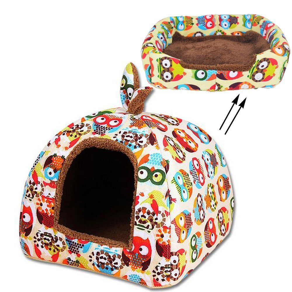 M(40cm40cm38cm) Pet Tent 2 in 1 Soft Pet Dog Cat Bed House Kennel Doggy Warm Cushion Basket by Guardians