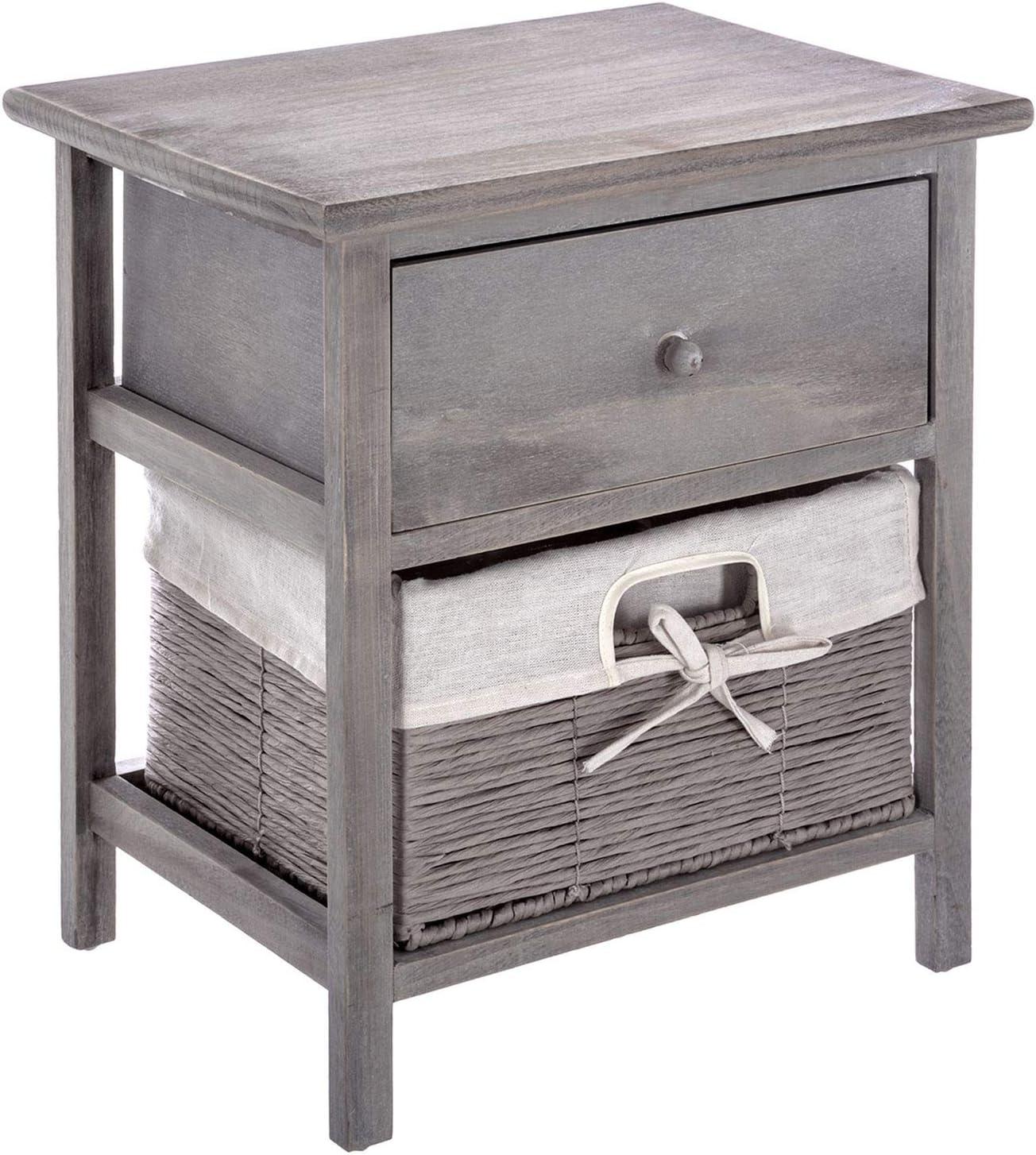 L 40 cm iDiffusion Table de Chevet 1 Tiroir avec Panier Gris