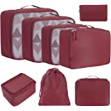 BAGAIL 8 Set Packing Cubes, Lightweight Travel Luggage Organizers with Shoe Bag, Toiletry Bag & Laundry Bag Burgundy