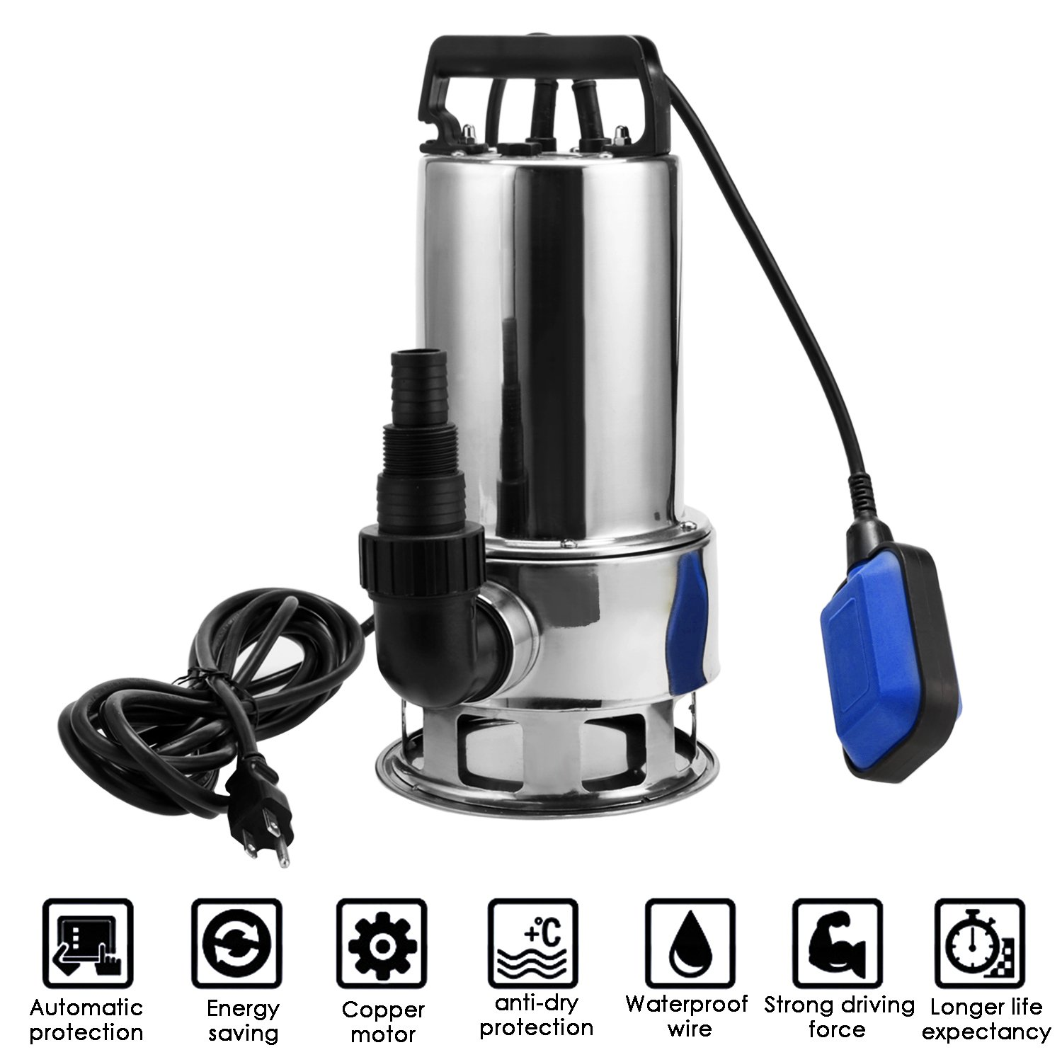 Homdox 1.5 HP Stainless Steel Sump Pump Submersible Pump Dirty Clean Water Pump Pool Pump w/ 15ft Cable and Float Switch by Homdox