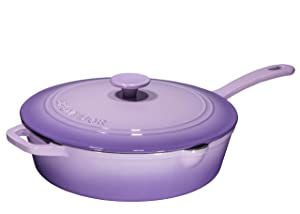 Enameled Cast Iron Skillet Deep Sauté Pan with Lid, 12 Inch, Superior Heat Retention - Purple
