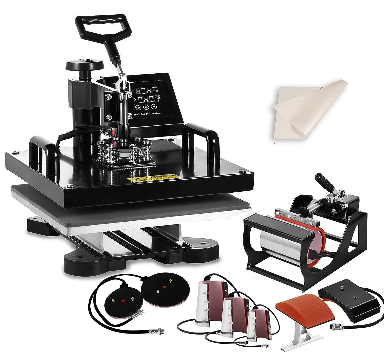 "SHZOND 15""x 15"" Heat Press Machine 8 in 1 Heat Transfer Machine Multifunctional Swing-Away Heat Press for T Shirts Hat Mug Plate (15x15 inch 8 in 1)"