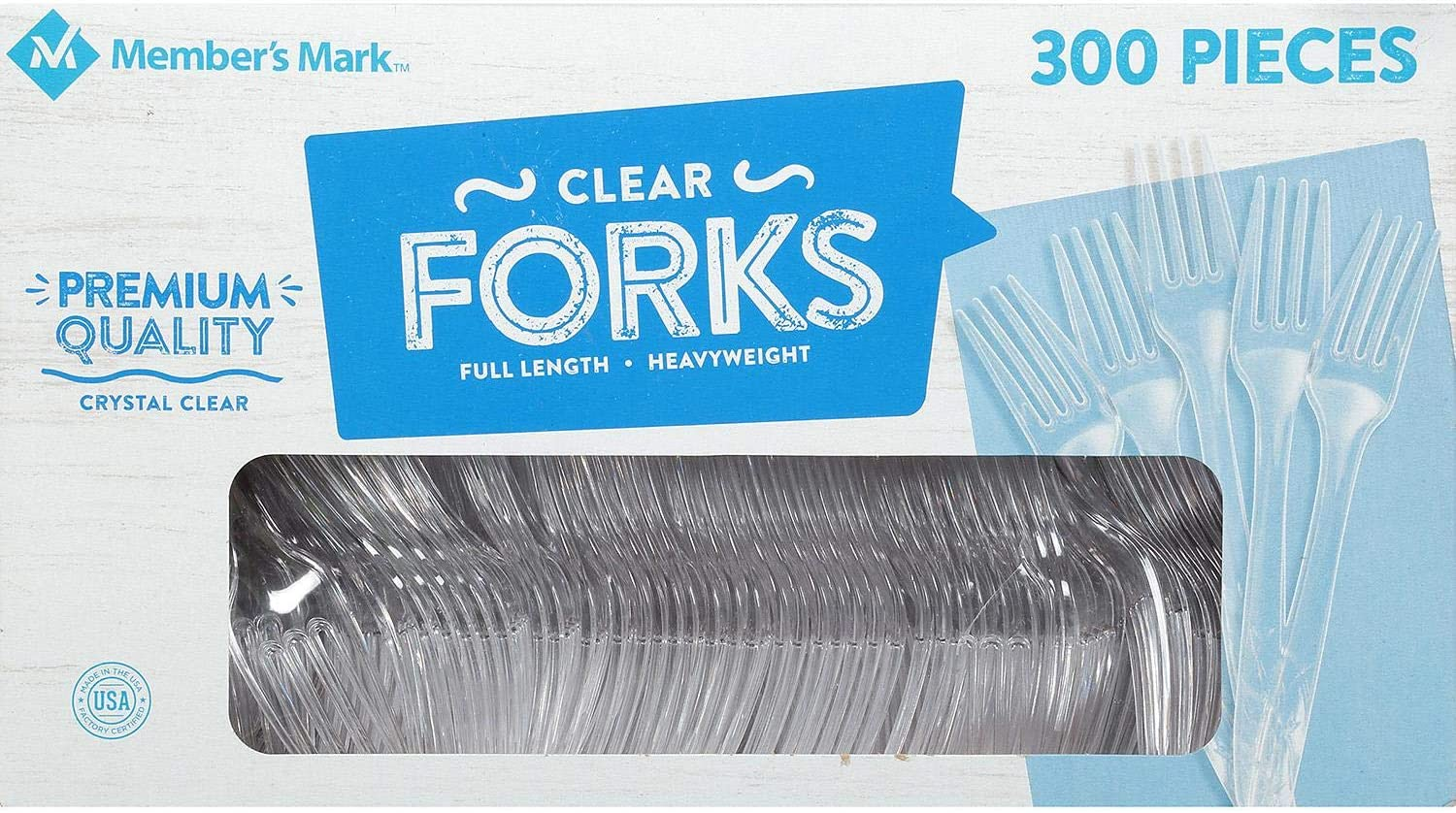Daily Chef Clear Plastic Forks, Heavyweight, 300 Count