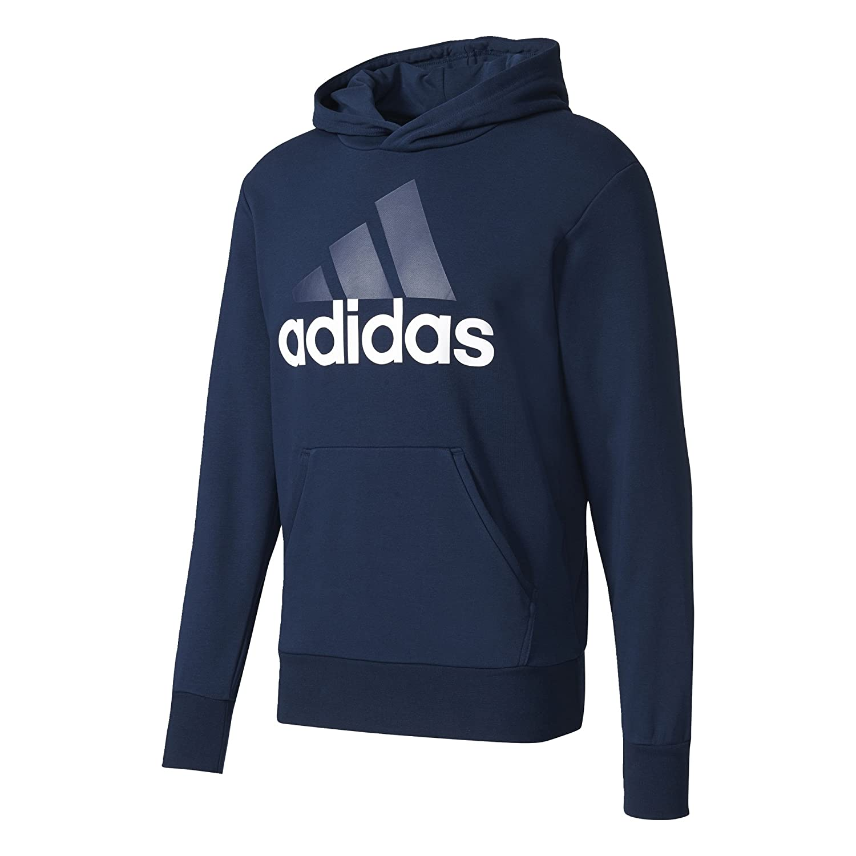 Adidas Ess Lin PO Ft Felpa Cappuccio Nera Logo Grande Bianco Uomo