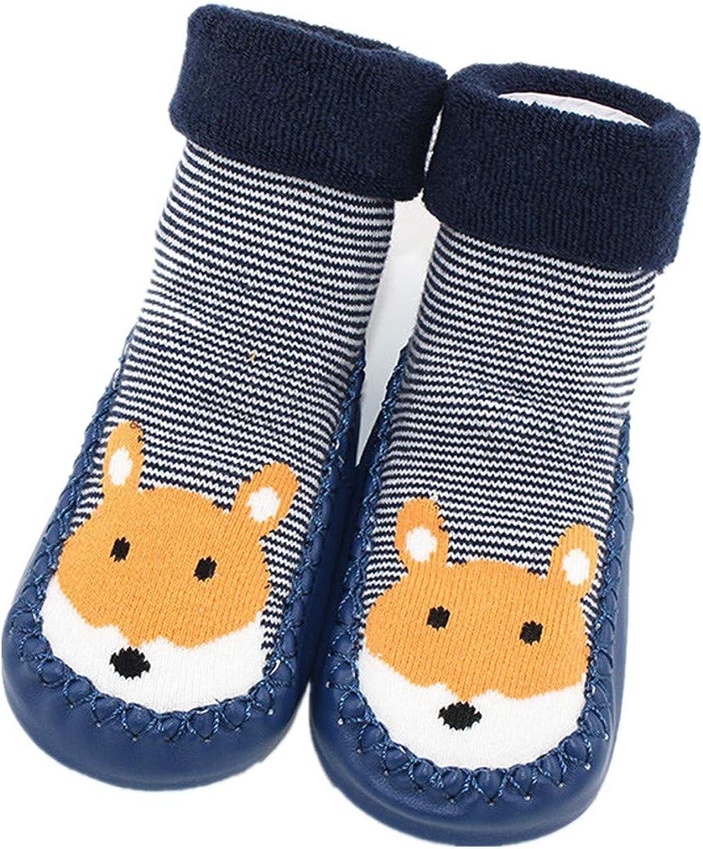 Robemon/_Chaussettes B/éb/é Cadeaux Enfants Filles Gar/çons Automne Hiver /Épaissi Anti-d/érapantes Impression Animale Colle Seul Chaussures Hautes Jambes Plancher Chaussettes