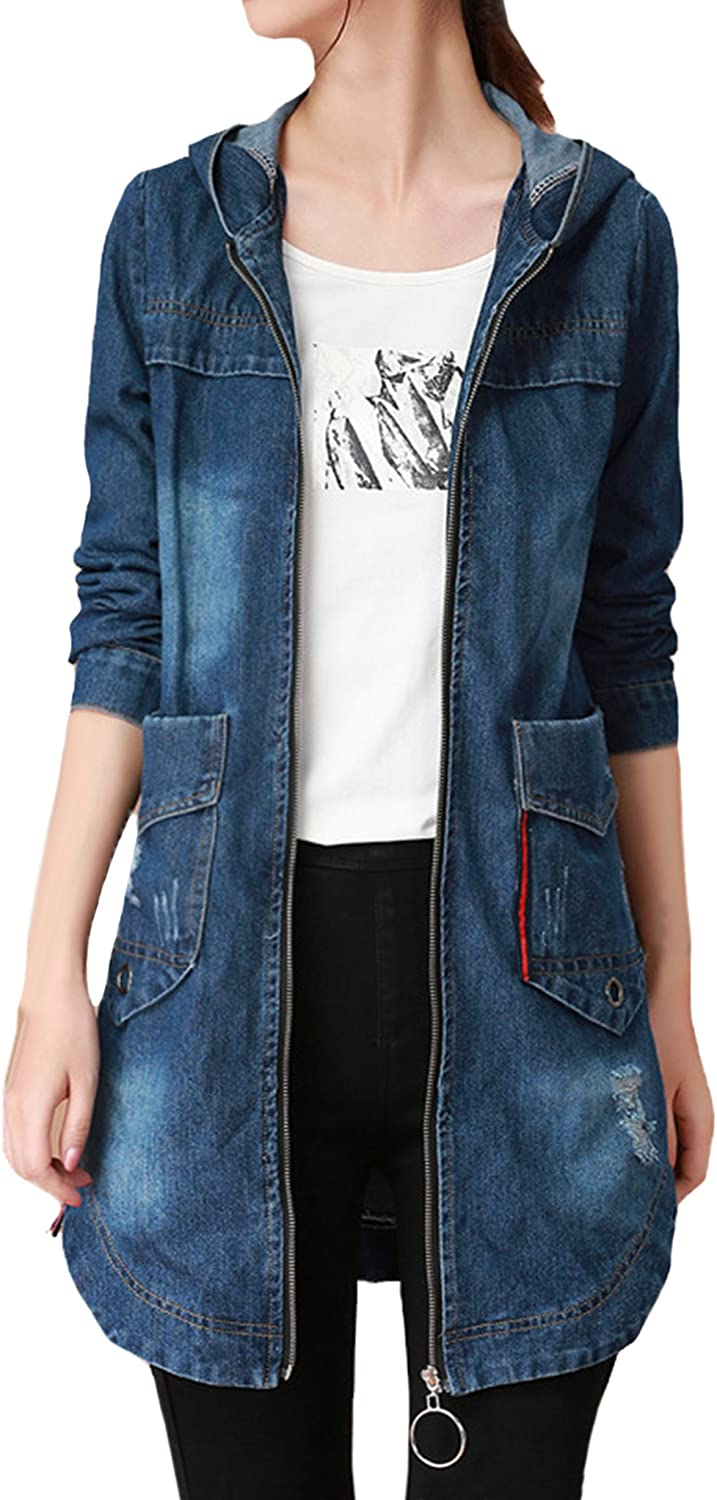 ZANLICE Womens Loose Fit Ripped Broken Denim Jacket Coat with Hood