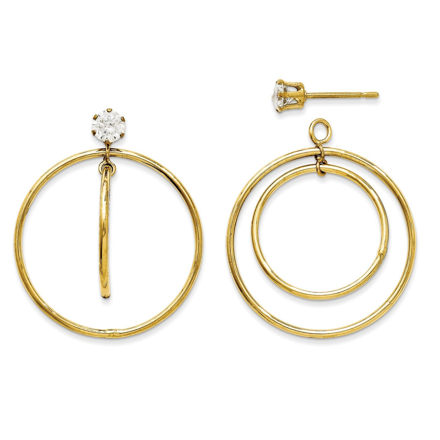 Roy Rose Jewelry 14K Yellow Gold Double Hoop with CZ Earring Jackets