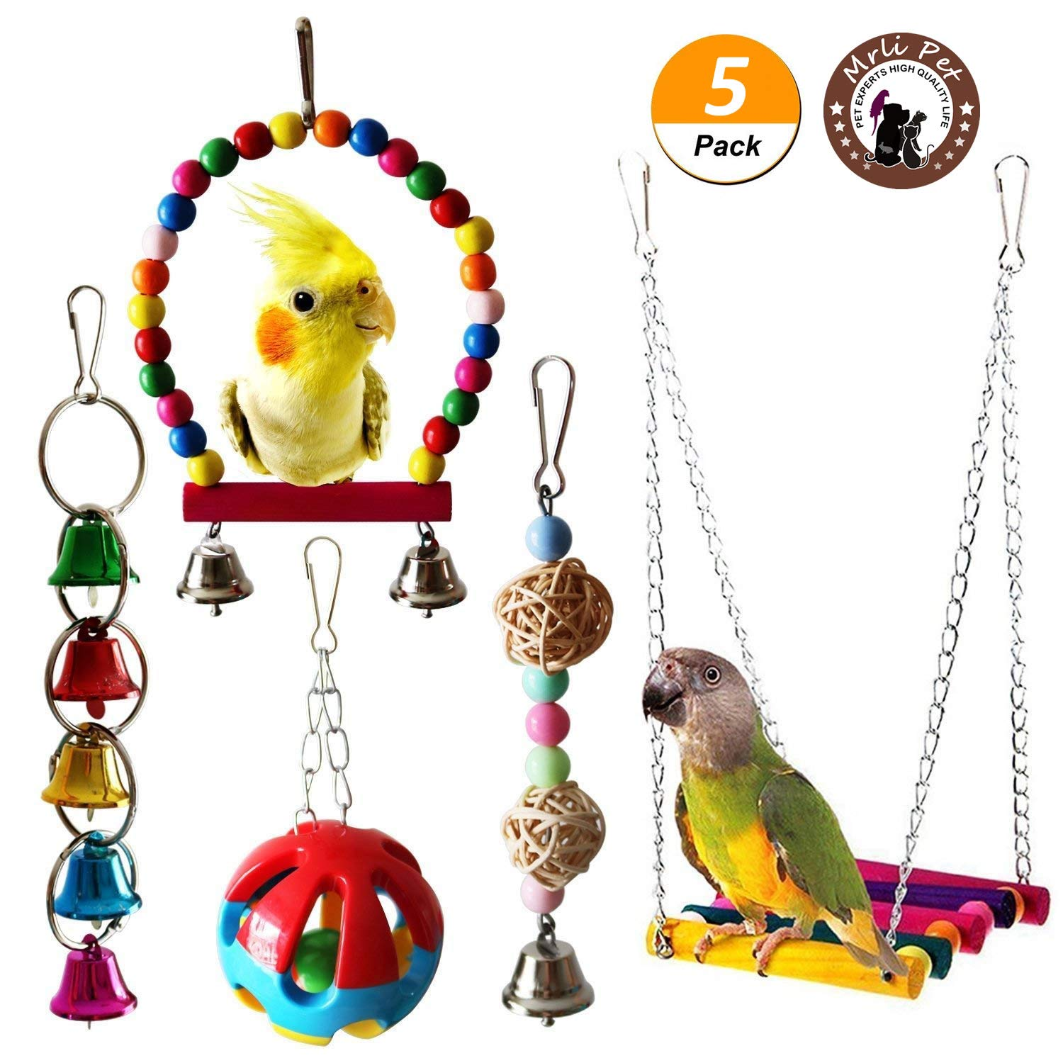 Mrlipet Bird Swing Toys with Colorful Wood Beads Bells and Wooden Hammock Hanging Perch for Budgie Lovebirds Conures Small Parakeet Cages Decorative Accessories (Bird Swing Toys with Bell) by Mrli Pet