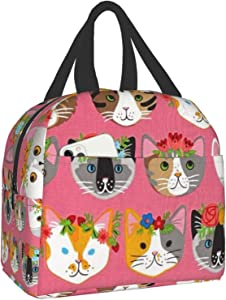 Whiskers & Tails Dressy Kitty Cats Lunch Bag,Insulated Lunch Box School Picnic Thermal Carrying Gourmet Food Container Organizer, Lunch Bags for Kids, Girls, Boys and Women