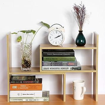 GOTOTOP DIY Standregal Bücherregal Tischorganizer Schreibtisch Tischregal  Aufbewahrungsregal (Holz Farbe)
