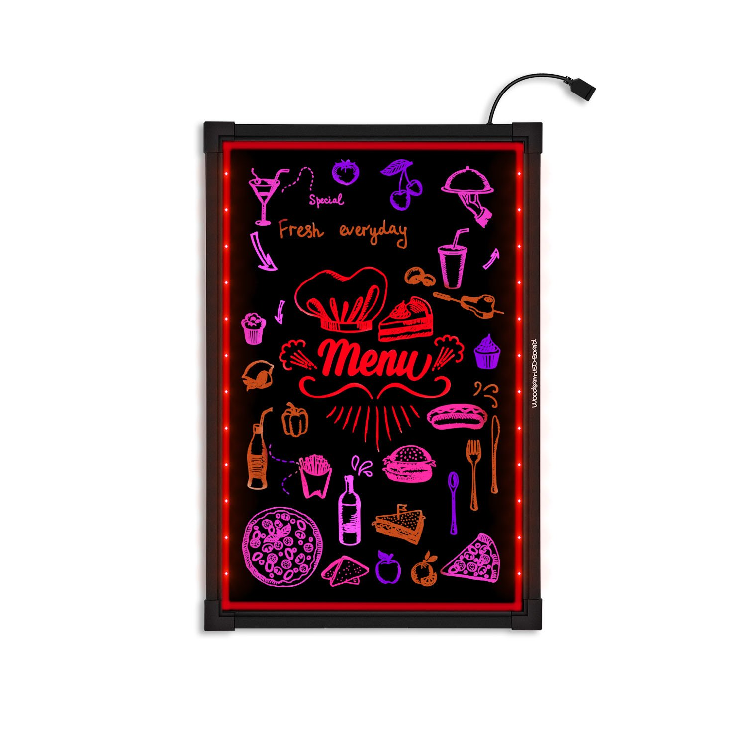 Woodsam LED Message Writing Board - 32''x24'' Flashing Illuminated Erasable Neon Sign With 8 Fluorescent Markers - Perfect For Holiday/Event/Menu Wedding Decoration Promotion Gift
