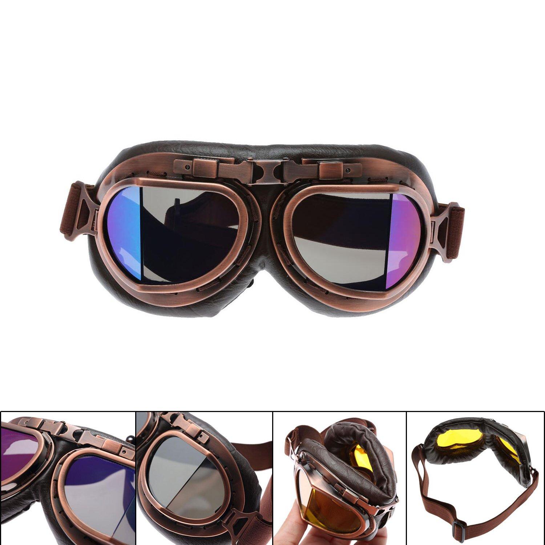MENGCORE Motorcycle Goggles Glasses Vintage Motocross Classic Goggles Retro Aviator Pilot Cruiser Steampunk ATV Bike UV Protection Copper 2018031601GBsmoky