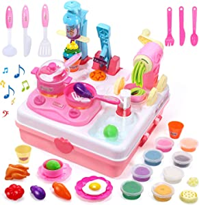 Playdough Sets Play Dough Tools Kit Kitchen Creations Ice Cream Maker Machine, Sink Toy Cooking Toys with Sound and Light (8 Colors Play Dough Included)