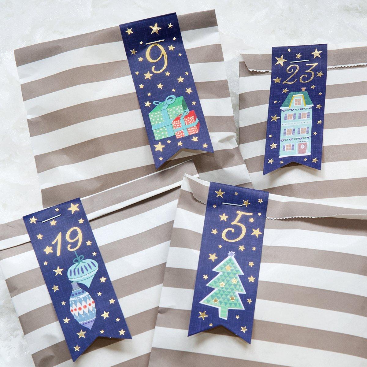 Adventskalender-Fähnchen 'Häuschen' blau mit Goldprägung - Weihnachts Fahnen für den Adventskalender in due