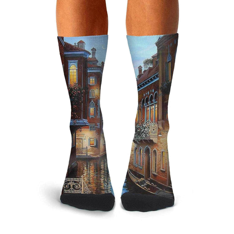 Knee High Long Stockings KCOSSH Oil Painting Venice Novelty Calf Socks Print Crew Sock For Mens