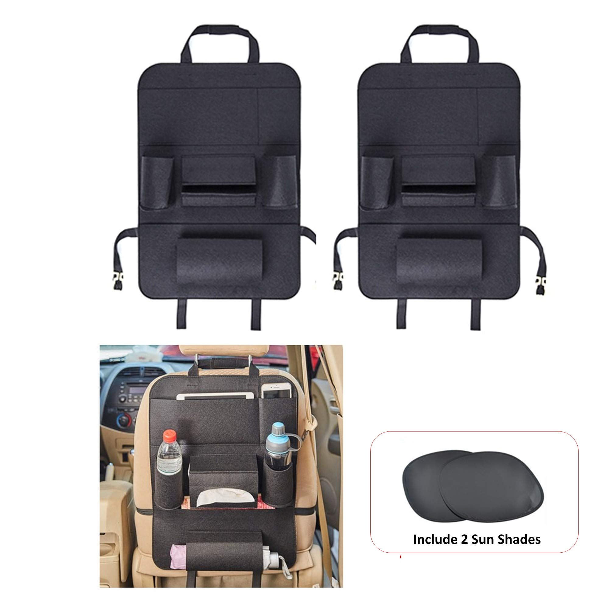 COSMOSS Car Seat Back Kick Protector with Backseat Organizer Pocket Storage, Tissue Box Holder [2-PACK] by, FREE SUNSHADES