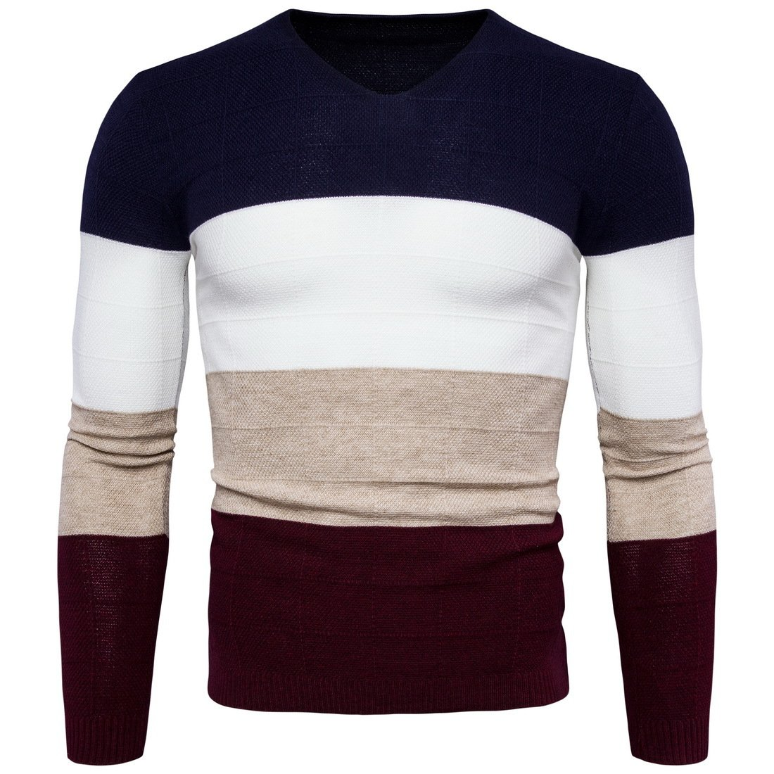 ZHUDJ Herren Pullover_Winter Rollkragen Pullover V-Vier-Farbe Farbe Männer Pullover