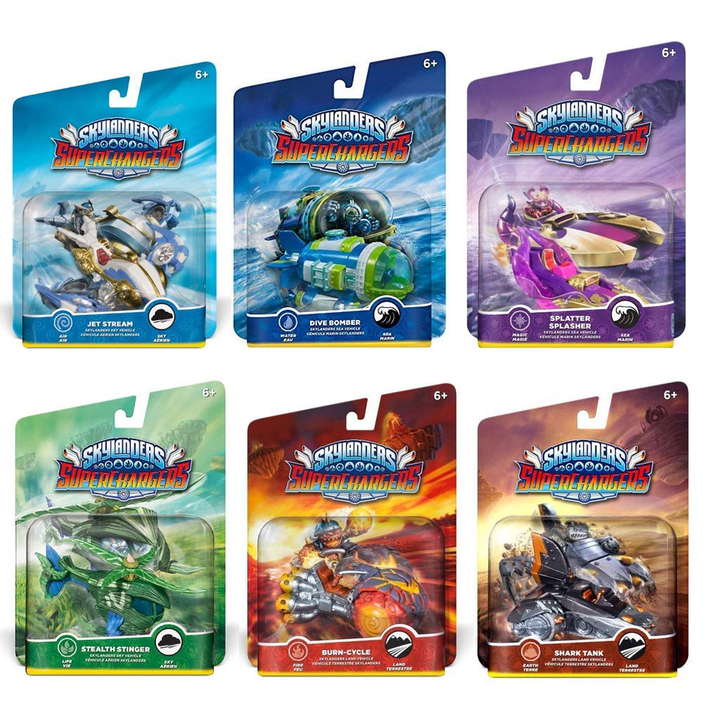 Skylanders SuperChargers Vehicle Character Pack (6) Pack Bundle: Jet Stream, Dive Bomber, Splatter Splasher, Stealth Stinger, Burn-Cycle, and Shark Tank