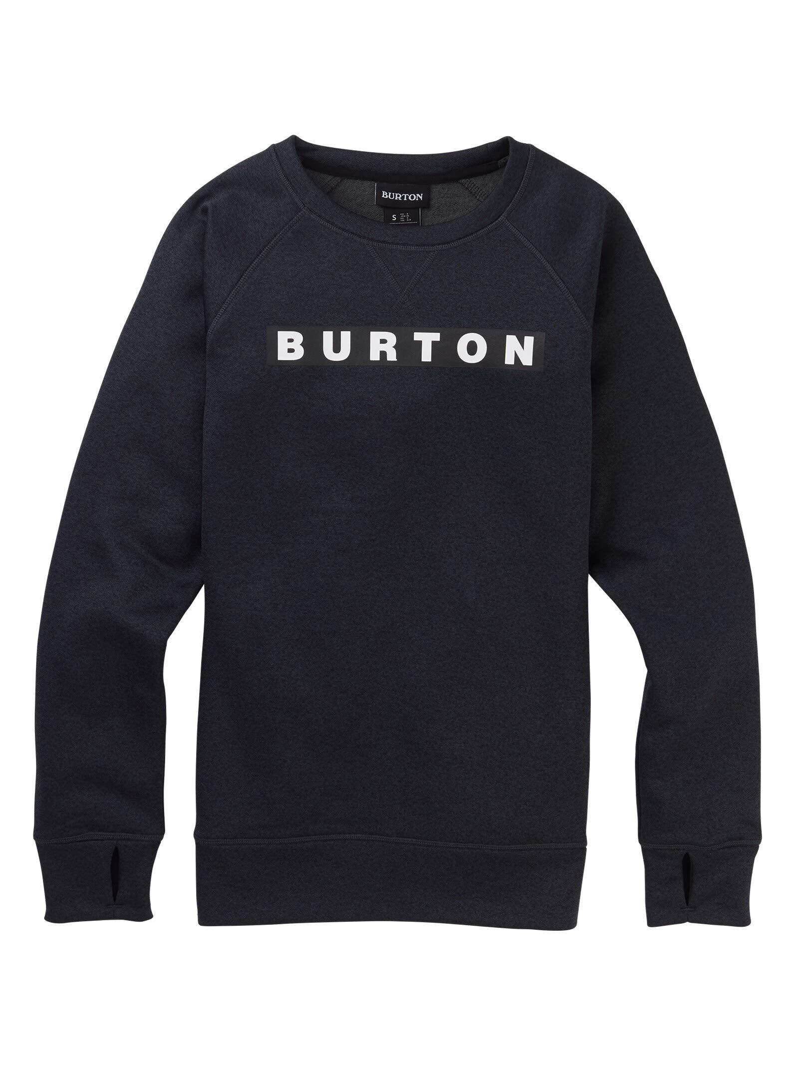 Burton Women's Oak Crew Sweatshirt, True Black Heather, X-Large by Burton