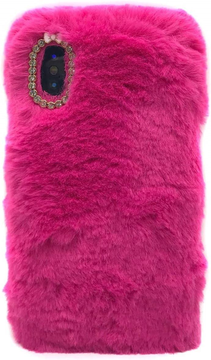 Cfrau Furry Case with Black Stylus for Samsung Galaxy S10,Winter Warmed Fashion Faux Rabbit Bunny Fur Fluffy Plush Soft Case with Cute 3D Crystal Bowknot,Black