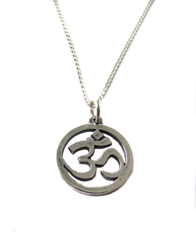 Amazon Om Ohm Aum Symbol Charm Sterling Silver Necklace 18