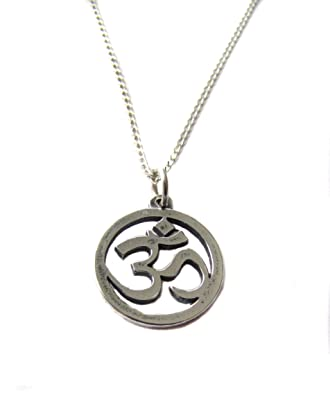 Amazon om ohm aum symbol charm sterling silver necklace 18 om ohm aum symbol charm sterling silver necklace 18quot yoga inspired aloadofball Images