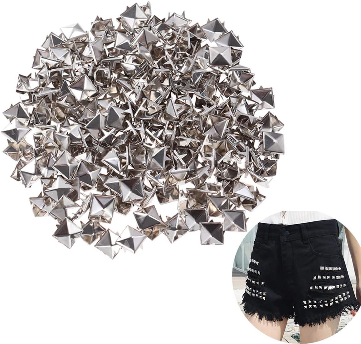 SUPVOX 200pcs Remaches Punk Cuadros Acero Goujon Puntas Clavo para DIY Zapatos Cintur/ón Ropa decoraci/ón Plata