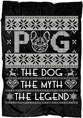 "COLUSTORE Pug Soft Fleece Throw Blanket, The Dog Fleece Luxury Blanket (Large Fleece Blanket (80""x60"") - Black)"