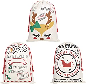 WMZYIQI Large Cotton Santa Sack 27.6 X 19.7 Inches Large Drawstring Christmas Bags Gift Sack (3 Pack)