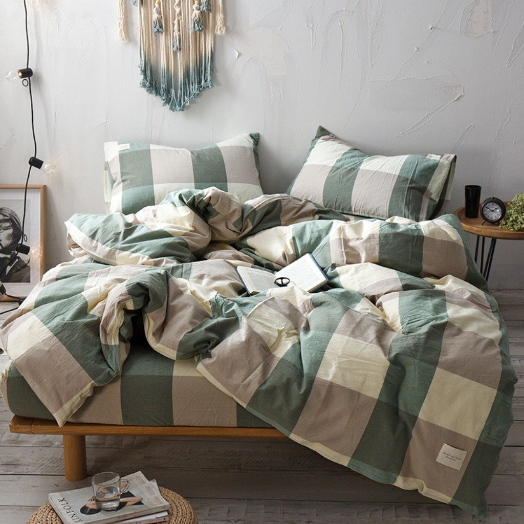 Haru Homie 3-Piece 100% Washed Cotton Duvet Cover Simple Style Bedding Set with Zipper Closure - Ultra Soft and Easy Care, (Full, Green/Khaki Grid)