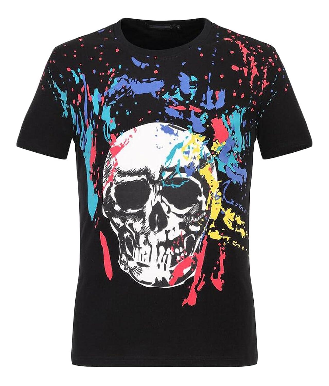 GAGA Men's Casual Round Neck Skull Print Short-sleeved T-shirt